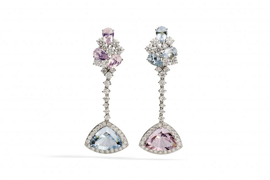 Italy: Earrings with morganites, aquamarines and diamonds in 18K white gold, price $77,822, by Giovannetti Gioielli.