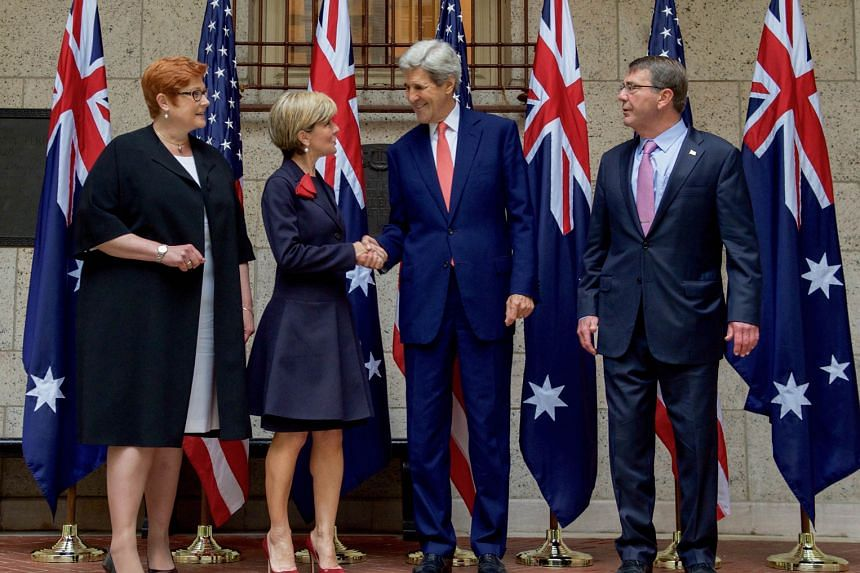 (From left) Australian Defence Minister Marise Payne, Australian Foreign Minister Julie Bishop, US Secretary of State John Kerry and US Defence Secretary Ashton Carter at the two countries' annual two-day meeting in Boston on Tuesday.