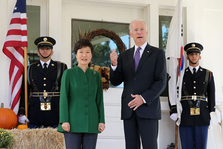 South Korean President Park Geun Hye with US Vice-President Joe Biden in Washington. The South Korean leader's official visit to the US will include a meeting with President Barack Obama.