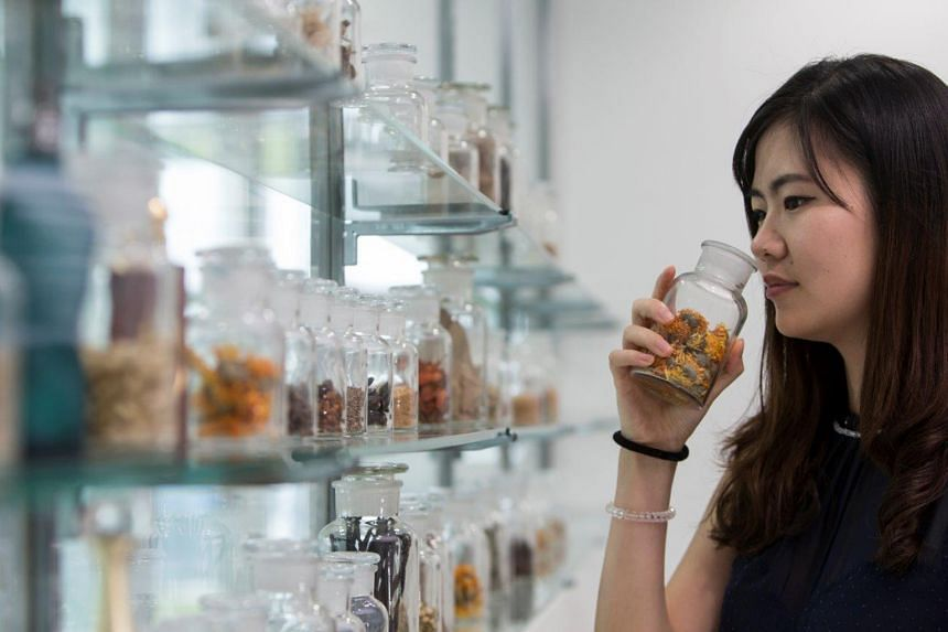 Student perfumer Somnus Zhou from Shanghai at the Singapore campus of the Givaudan Perfumery School.
