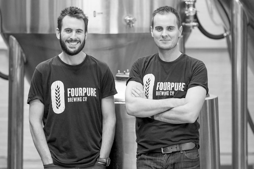 Thomas (far left) and Daniel Lowe (left) are brothers and co-founders of Fourpure Brewing Company, whose range of canned craft beers (below) is featured at the Singapore Craft Beer Week.