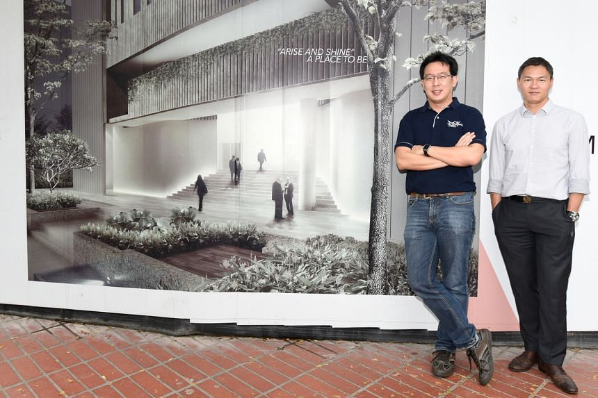 Mr Ban Jiun Ean (left), Gateway Entertainment's deputy chief executive, and Mr James Tan, chairman of the building committee and deputy executive director of Touch Community Services, at the site of the new centre.
