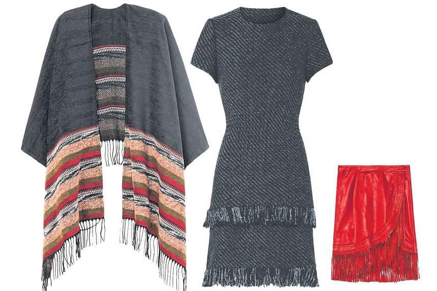 From far left: Maje's oversized Eagle poncho, Rabata dress and fringed Jawa leather skirt from its current collection.