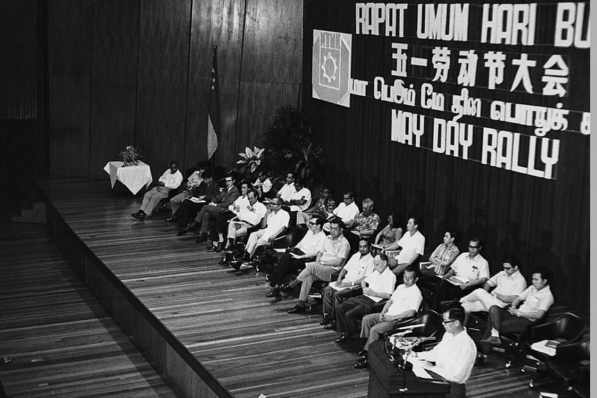 The Singapore Conference Hall in Shenton Way was the site of many a May Day Rally, including this one in 1973. It was also where the Speak Mandarin Campaign was first launched.