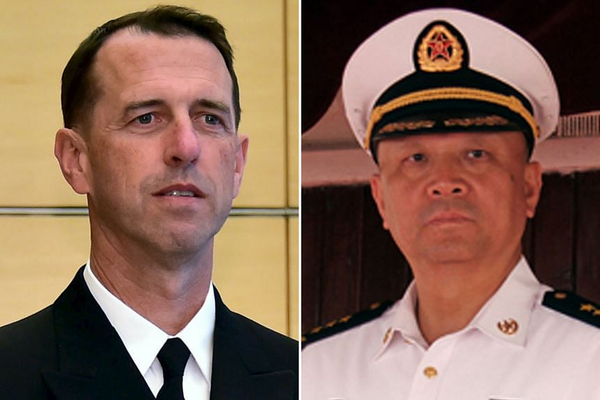 US chief of naval operations John Richardson and Chinese Admiral Wu Shengli spoke yesterday.