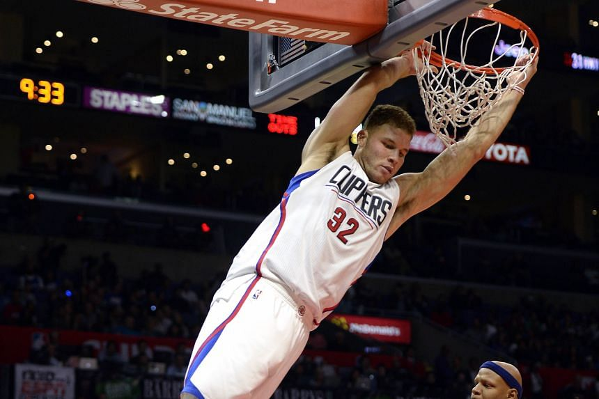 The high-flying Blake Griffin of the LA Clippers dunks for two of his 26 points in their win against the Dallas Mavericks