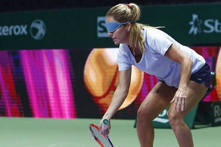 Put blindfolds on her, but a champion is still a champion. Four-time Grand Slam singles champion and former world No. 1 Arantxa Sanchez-Vicario tried out blind tennis for the first time, but still managed to make contact with every ball that was fed