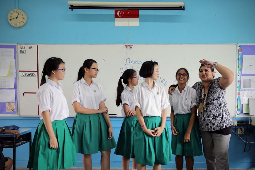 Ms Michelle Elizabeth Rajlal conducting a literature class at Tanjong Katong Secondary School. She says acting out scenes can get students excited about stories.