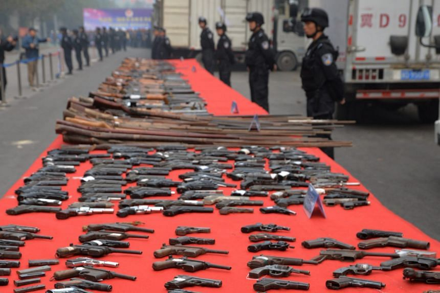 Guns that will be destroyed as part of a campaign against illegal weapons and explosives in Handan, north China's Hebei province. A total of 22,230 firearms, 417,034 bullets, 6,474kg of explosives, 88,349 detonators and 16,697 imitation guns were con
