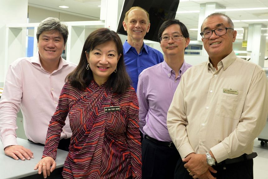 The researchers from the SingHealth Duke-NUS Academic Medical Centre (from far left): Dr Ong Kong Wee, Professor Tan Puay Hoon, Professor Steven Rozen, Professor Patrick Tan and Professor Teh Bin Tean.