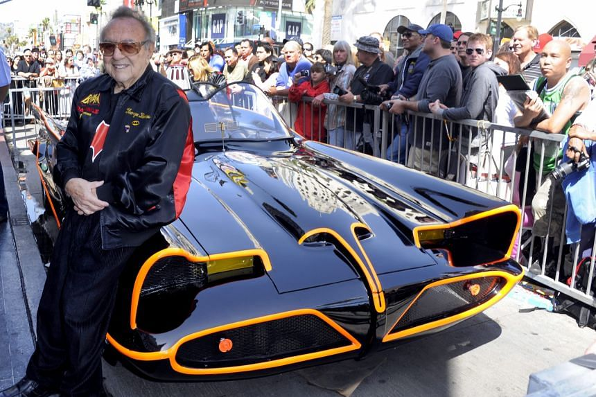 Custom car designer George Barris (left) with the Batmobile he created. He and his brother gained fame through their customisation of the Hirohata Mer (below left).