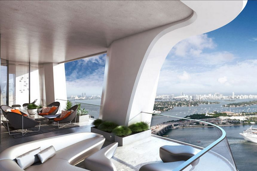 The terrace in the Miami project (above left) and another in the New York project (right), both by Zaha Hadid.