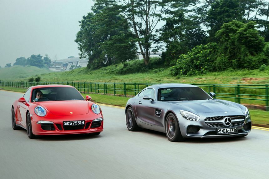 Mean, beautiful machines: the Porsche 911 Carrera GTS (left) and Mercedes- AMG GT S (right).