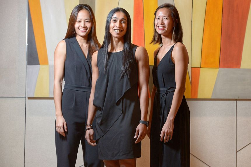 The addition of (from far left) Micky Lin, Premila Hirubalan and Chen Huifen means there are now six players in the Singapore Netball Hall of Fame. The trio are still playing competitively and are SEA Games as well as Asian champions.