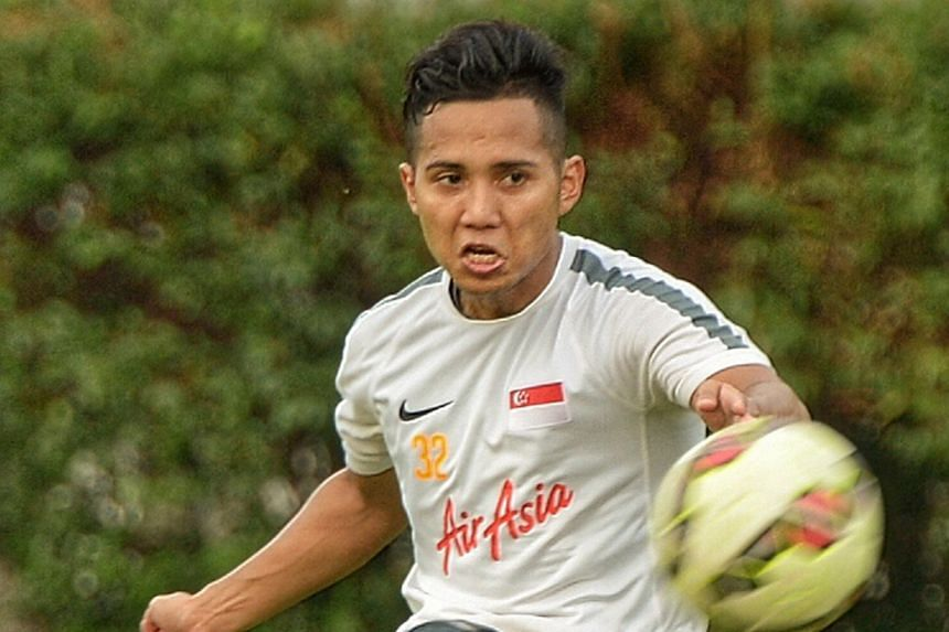 """Sahil Suhaimi at a training session yesterday. Although he is the third-choice national striker behind Khairul Amri and Fazrul Nawaz, he says he is focused on finding """"opponents' weaknesses to score""""."""