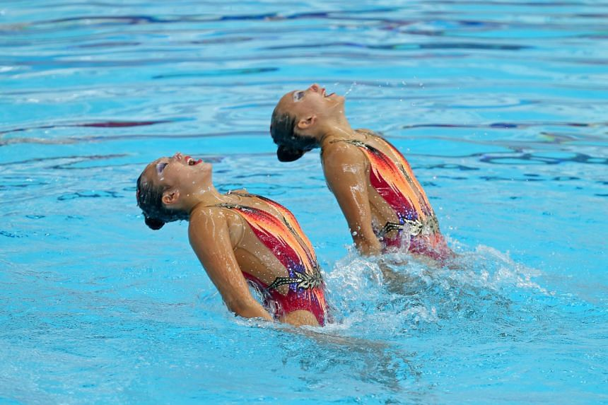 Debbie Soh (left) and Gwyneth Goh in the duet free routine final at the National Synchronised Swimming Championships yesterday.