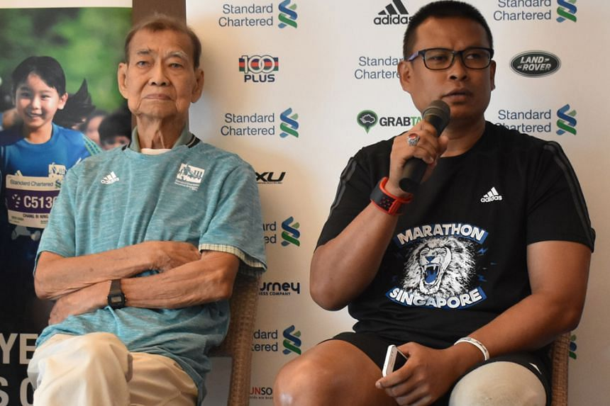 """Blade Runner"" Shariff Abdullah's training has been affected by the haze, while Singapore's oldest marathoner Chan Meng Hui, 85, said work commitments have hampered his training."