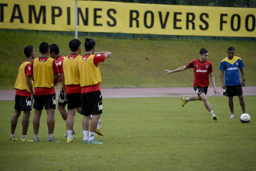 Tampines Rovers, with Shaiful Esah practising free kicks under the watchful eye of coach V. Sundramoorthy, hope to pip DPMM to the S-League crown to give former chairman Teo Hock Seng a perfect farewell gift.
