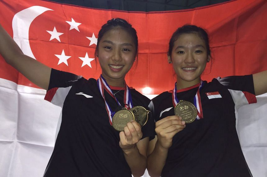 Yeo Jia Min (left) and Crystal Wong after clinching the girls' doubles title at the Badminton Asia Under-17 Junior Championships in Indonesia last month. About an hour earlier, Jia Min had also won the singles. ST Star of the Month Yeo Jia Min, 16, w