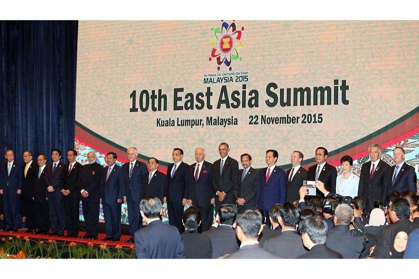 Leaders taking the stage at the East Asia Summit in Kuala Lumpur yesterday. Malaysian Prime Minister Najib Razak said there was consensus among EAS members that the South China Sea had to be handled in a way that does not raise tensions.