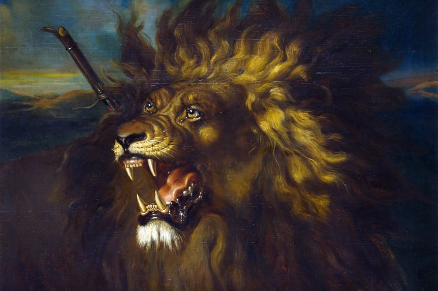 WOUNDED LION, 1839: By Raden Saleh, oil on canvas, 88cm by 108.5cm