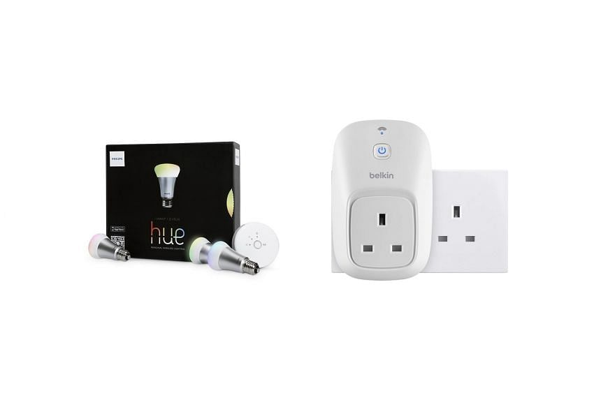 The Philips Hue (top) and the WeMo Switch.