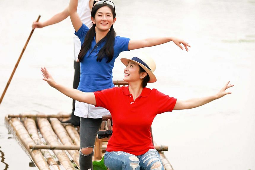 Screen legend Lin Ching-hsia (seated) with actress Xie Na on Up Idol.