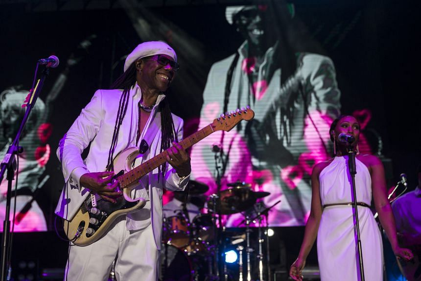 Chic featuring Nile Rodgers (left) on the first night of the alternative outdoor festival. Local rapper Shigga Shay belting out his hits in a half-hour set.