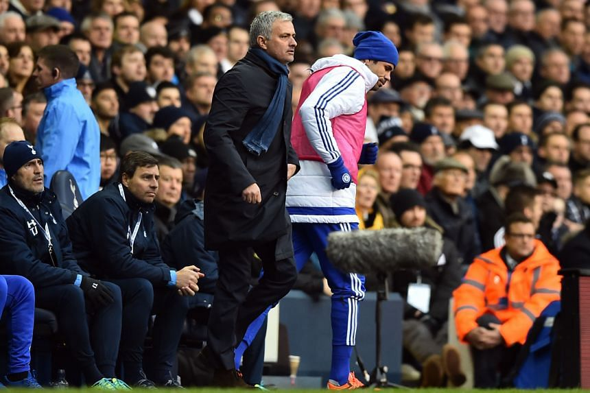 Chelsea striker Diego Costa warming up but he was not called upon by manager Jose Mourinho.