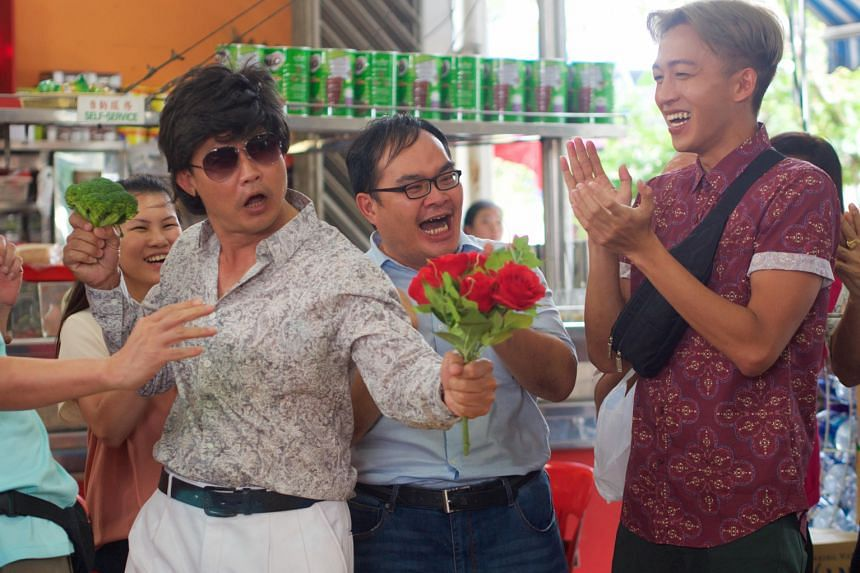 High jinks from Chen Tianwen (left) as his co-star, Tosh Zhang (right), applauds.