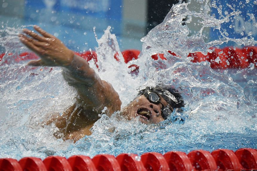 Ernie Gawilan taking part in Friday's 100m freestyle S8 final. Yesterday, he became the first male swimmer from the Philippines to qualify for the Paralympics.