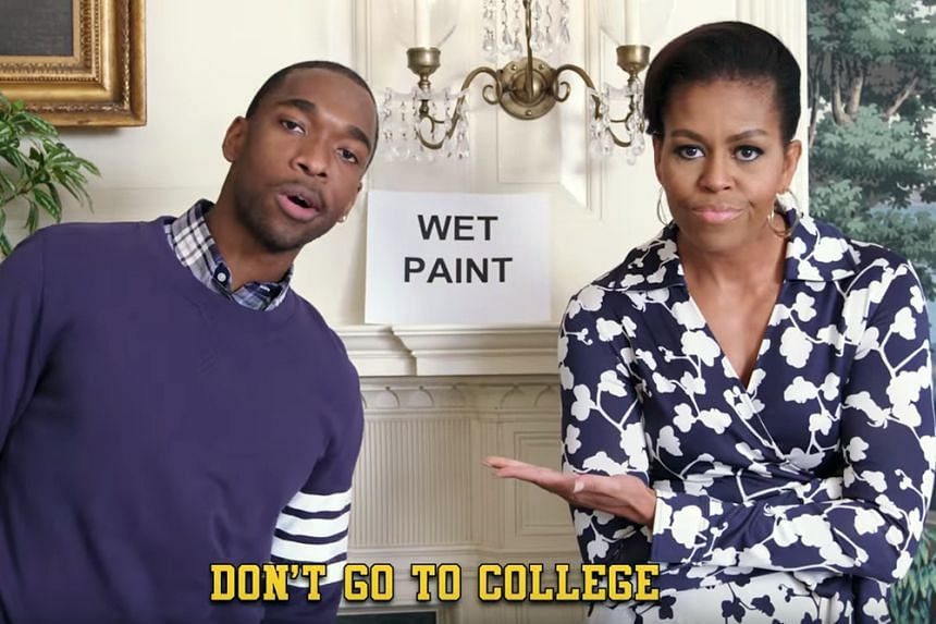 Mrs Michelle Obama and Jay Pharoah in the tongue-in-cheek music video to encourage children to go to university.