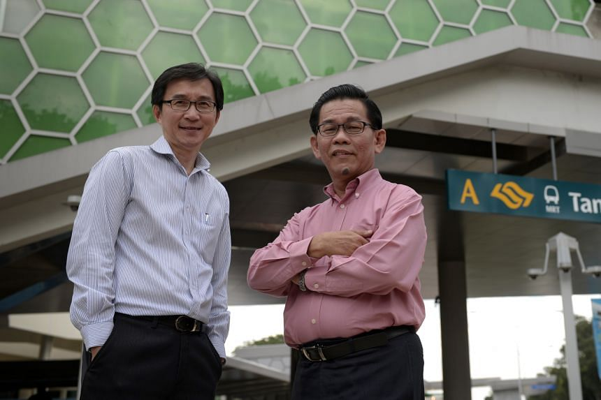 The sudden bankruptcy of Austrian contractor Alpine Bau shocked LTA project directors Ng Kee Nam (left) and Tan Kian Thong. However, they and their team slogged to ensure the line opens as planned.