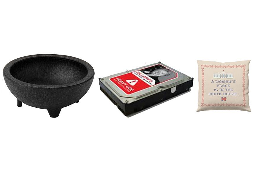 Some items for sale include (from left) a guacamole bowl from Mr Jeb Bush's team, a hard drive sold on Senator Rand Paul's online store and a throw pillow from Mrs Hillary Clinton. Merchandising brings in some extra money and also helps candidates br