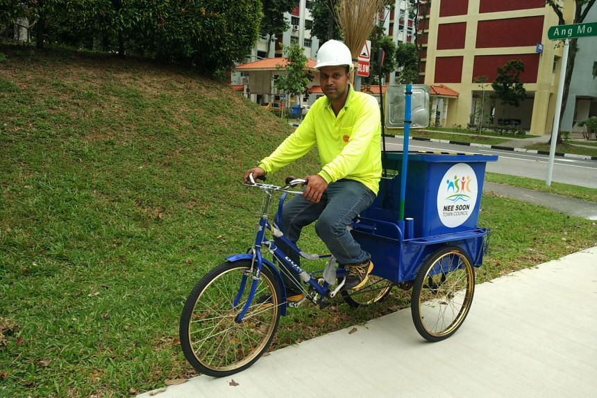 Mr Abu Repon, a cleaner working in Nee Soon, feels the tricycle trumps the trolley he was using before as it is easier to clean the estate now. There are nine such tricycles deployed in Nee Soon: five in Kebun Baru constituency and four in Chong Pang