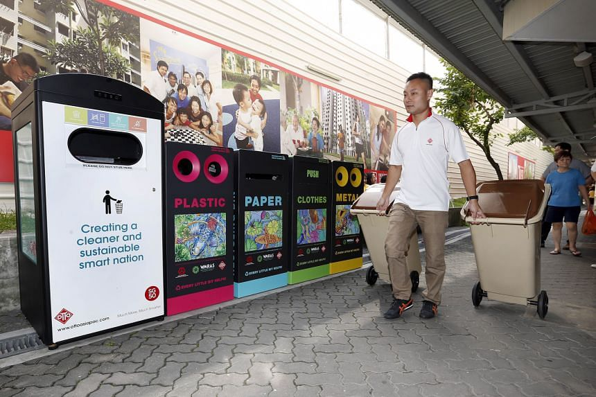 As part of the Hong Kah North Towards A Zero Waste Community campaign, the constituency has placed four colourful smart bins at the community club to promote the habit of recycling. The bins have sensors that will alert the town council when they are