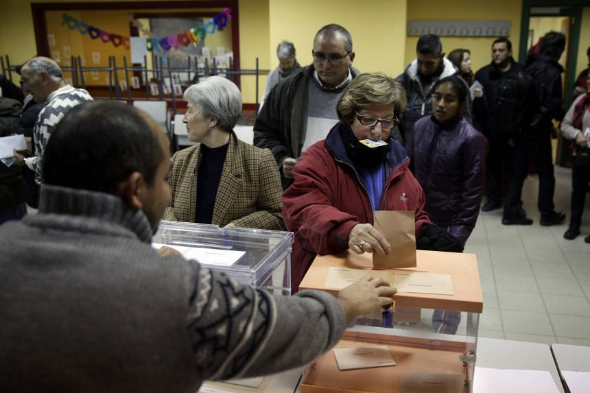 Voting under way in Madrid yesterday. Since the end of Francisco Franco's dictatorship and the return to democracy in the 1970s, Spain has always enjoyed stable parliamentary majorities, with the centre-right Popular Party and the centre-left Sociali