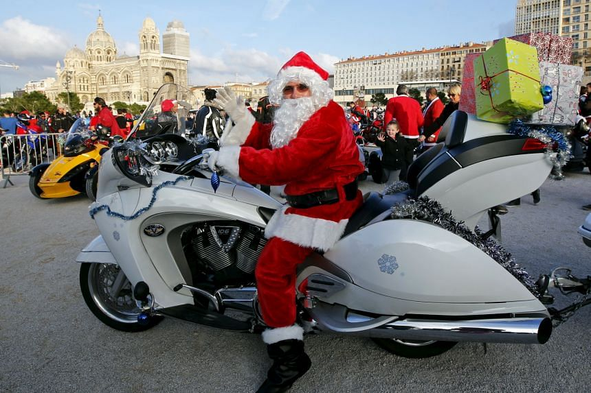 Ho, ho, ho and this biker was off on a charity ride on Sunday to deliver gifts to children in hospitals in Marseille, France.