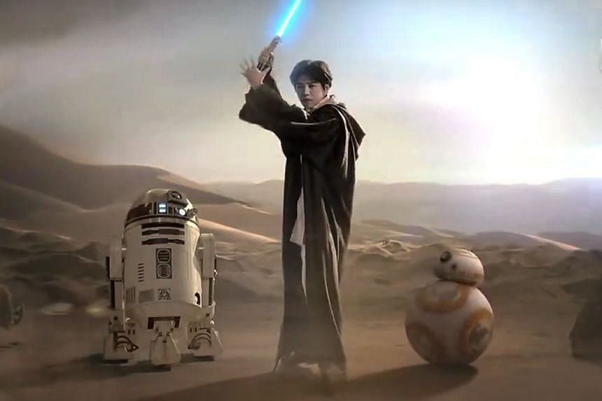 """A huge marketing campaign for Star Wars: The Force Awakens in China shows Lu Han as a Jedi """"ambassador""""."""