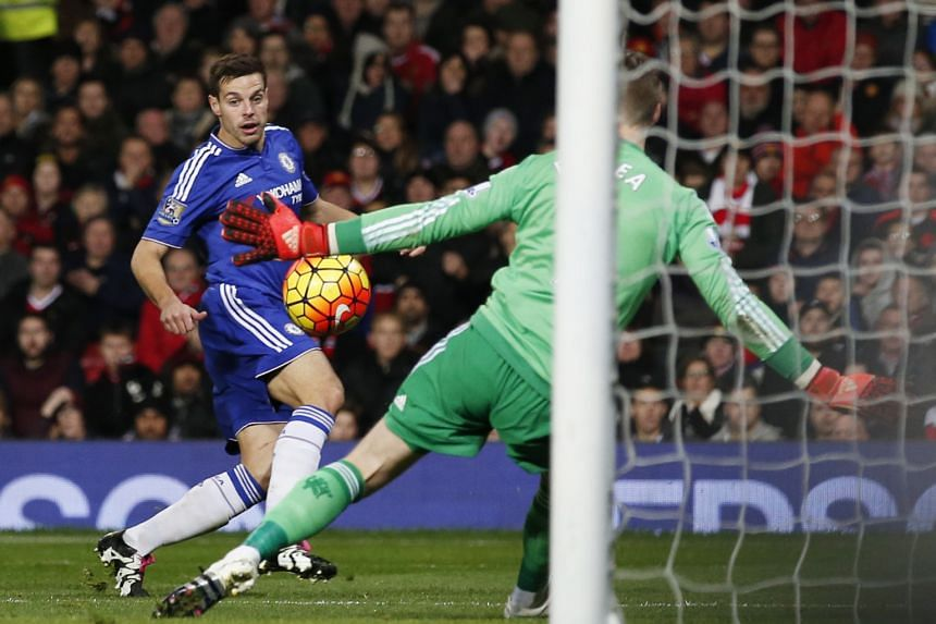 Chelsea's Cesar Azpilicueta has a shot saved by Manchester United's goalkeeper David de Gea during the 0-0 stalemate at Old Trafford.