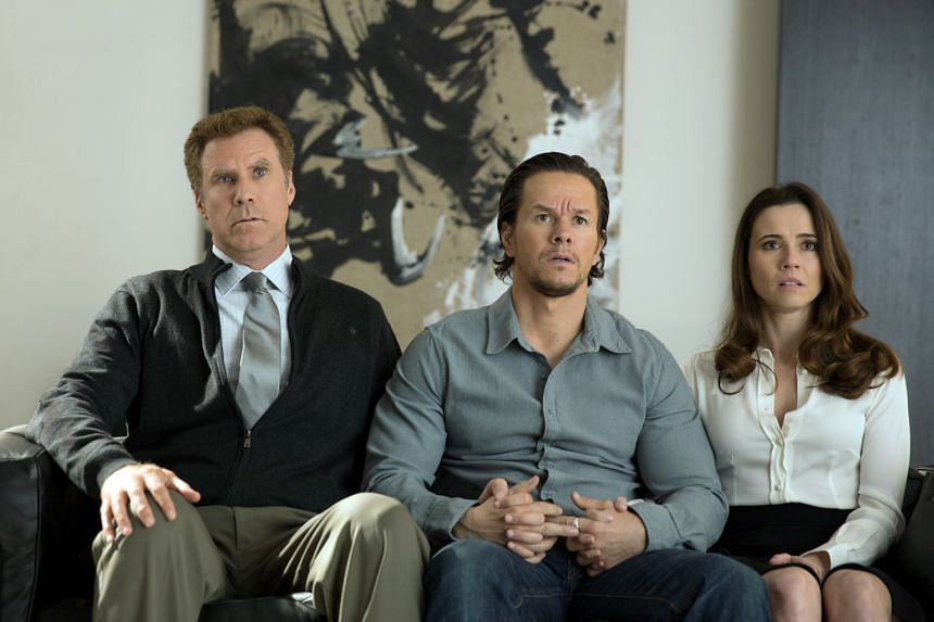 Linda Cardellini as Sara (right) with her husband, played by Will Ferrell ( left) and ex-husband, played by Mark Wahlberg (centre).