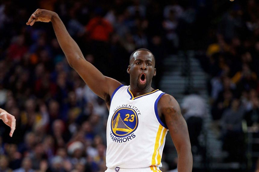 Stephen Curry failed to return for the second half with a recurring leg injury but Draymond Green (right) took up the slack, top scoring with 29 points as well as 17 rebounds and 14 assists.