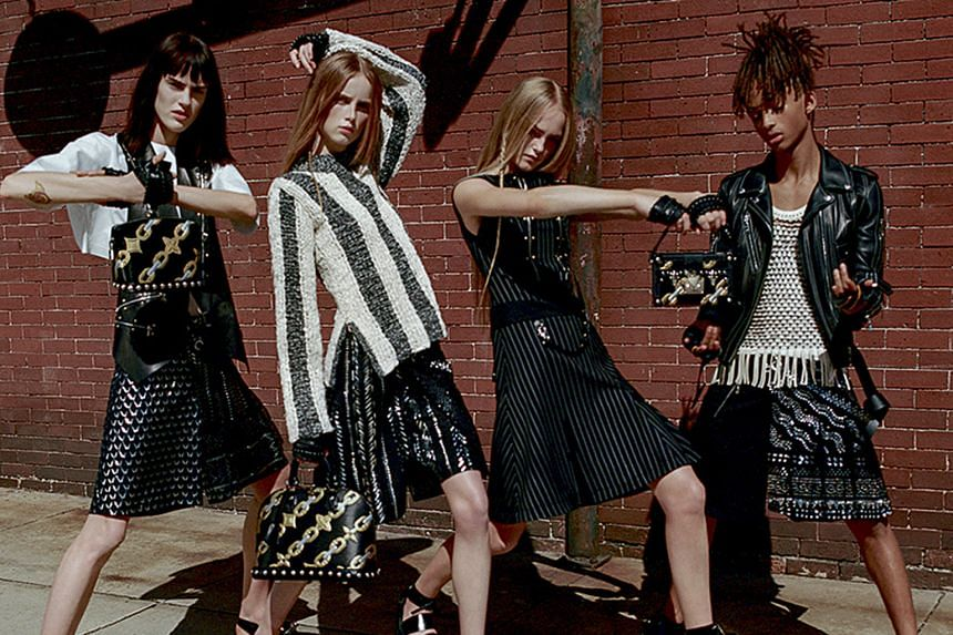 Jaden Smith (right) appears in women's clothing in the latest advertisement campaign for Louis Vuitton.