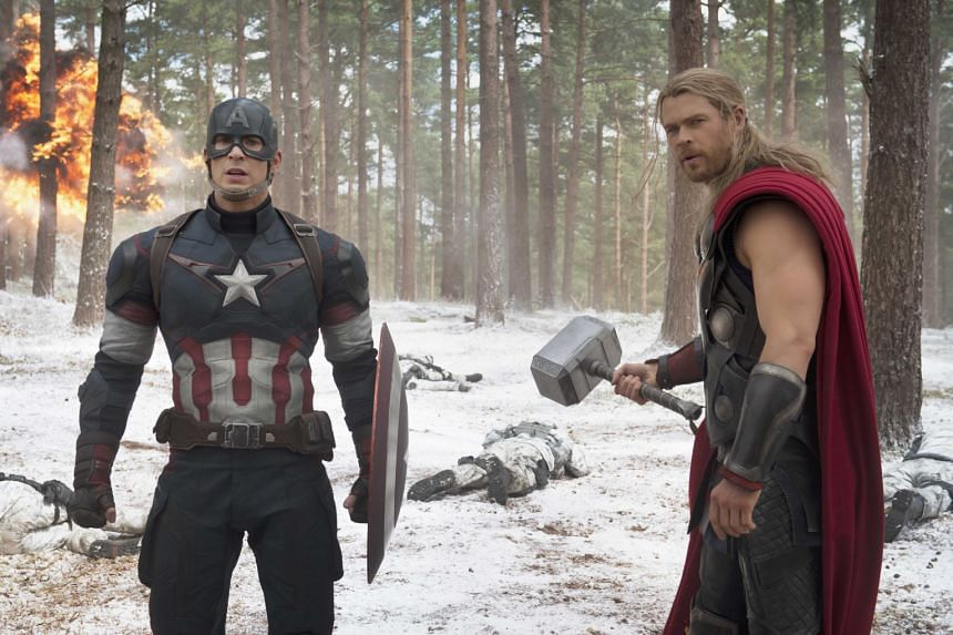 The No. 1 movie in Singapore last year is Marvel's The Avengers: Age Of Ultron (starring Chris Evans as Captain America and Chris Hemsworth as Thor, both above). Ah Boys To Men 3: Frogmen (left) is No. 5 on the top 10 overall movies of last year by t