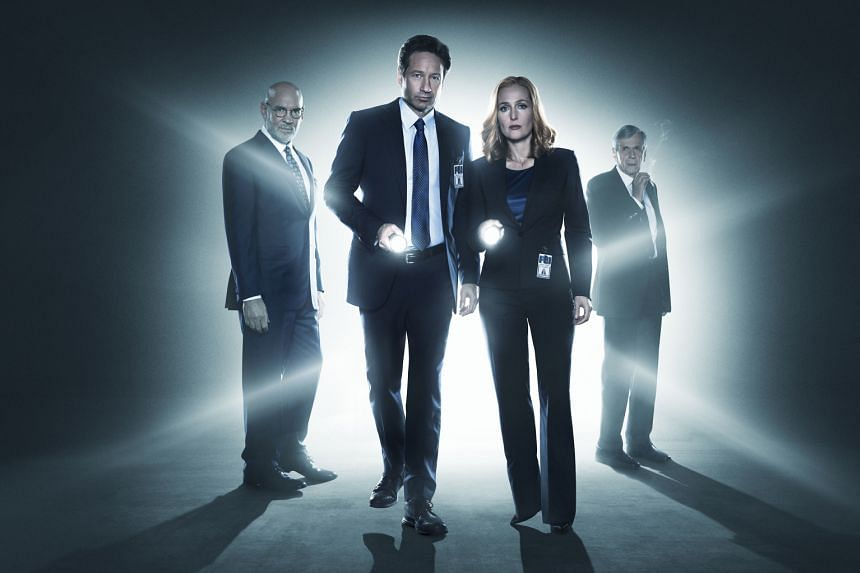 The X-Files stars (from far left) Mitch Pileggi, David Duchovny, Gillian Anderson and William B. Davis.