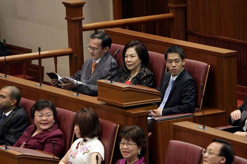 (Back row, from left) Then NCMPs Yee Jenn Jong, Lina Chiam and Gerald Giam at the opening of the 12th Parliament on Oct 10, 2011. PM Lee said on Wednesday that he intended to raise the minimum number of opposition MPs in Parliament.