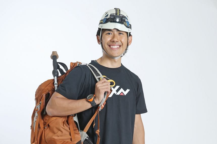 Looking at the photos of his family, girlfriend and favourite dishes help to motivate Mr Jeremy Tong during a climb.