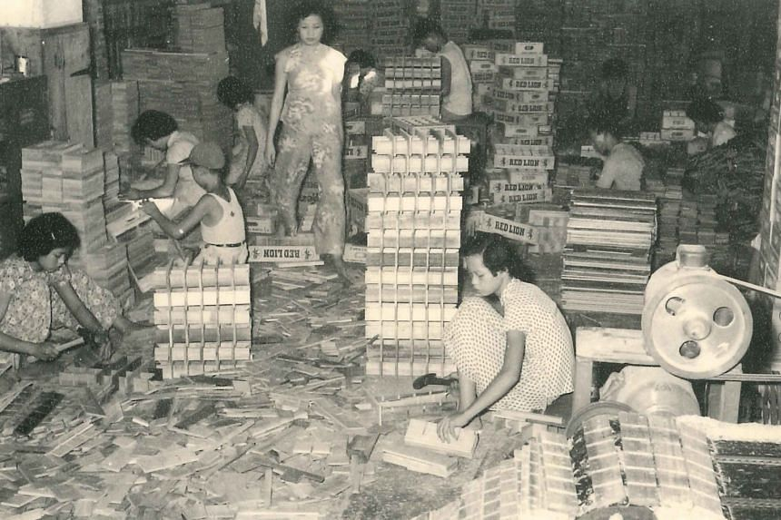 (Left) Workers, mostly women, assembling the wooden crates in the 1950s using tools such as hammers. (Above) A 1964 picture of the saw blades used for cutting timber. Workers would use the saws to slice chunks of timber logs into uniform planks to be