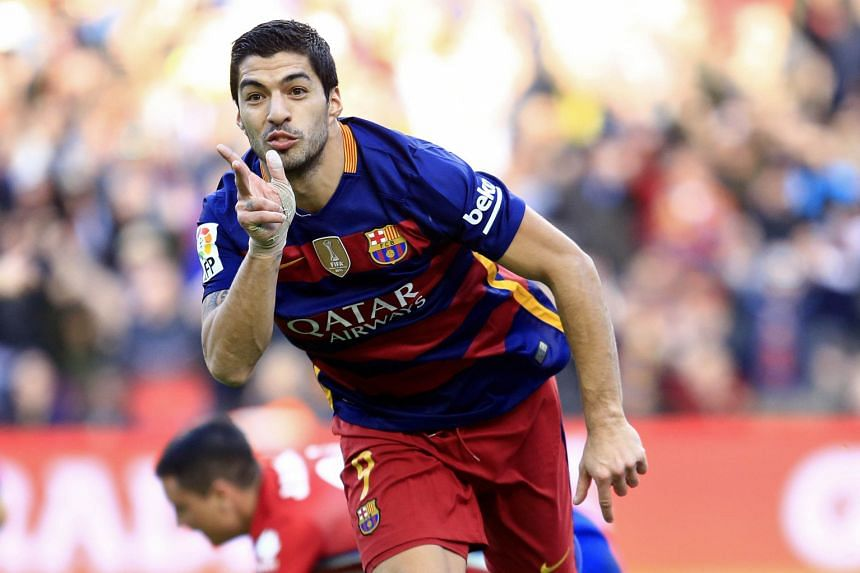 Barcelona's Uruguayan forward Luis Suarez celebrating after finding the net against Atletico Madrid at the Camp Nou stadium on Saturday.