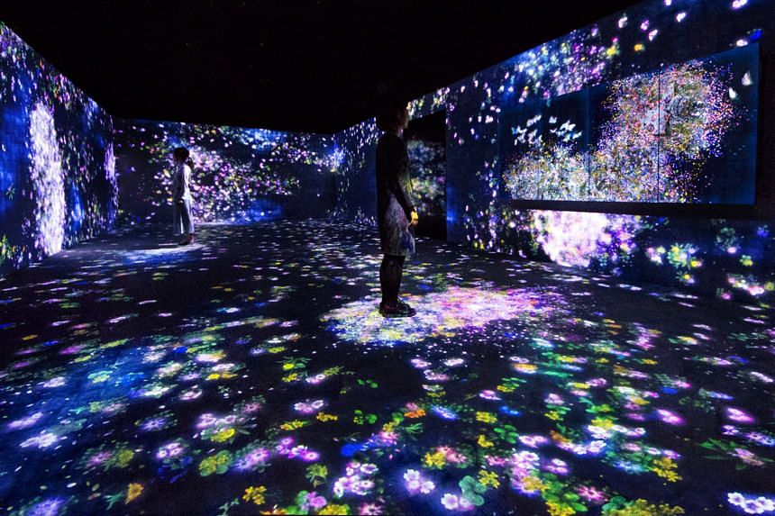 The interactive art installations include one with projections of butterflies and flowers (above) and another of large lit balls that change colours and produce sound when touched.